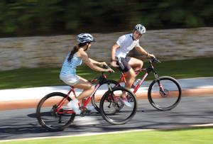 couples biking